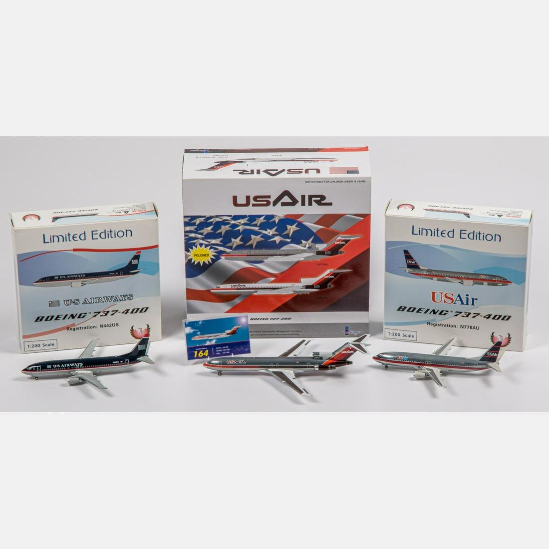 Three US Air Diecast Airplanes