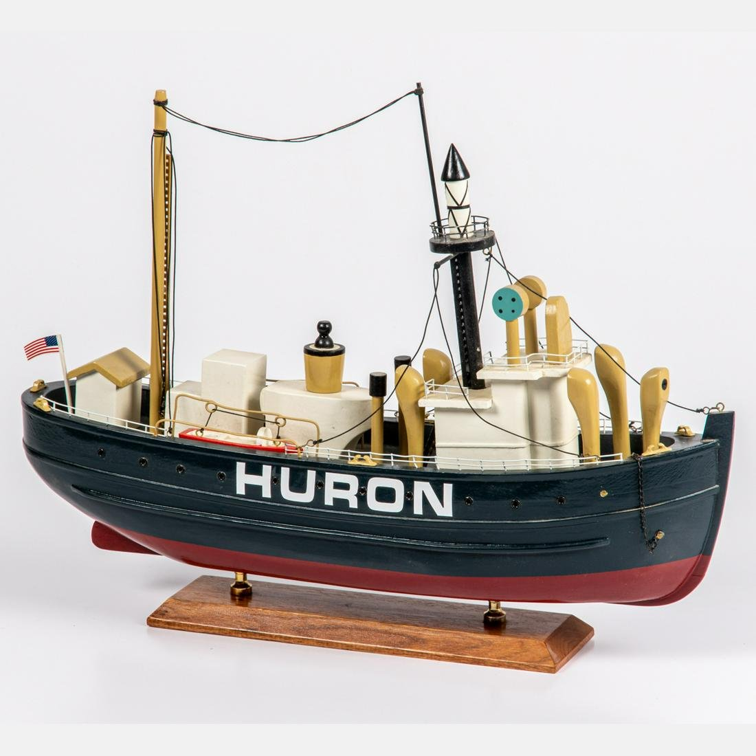 A Painted Wooden Huron Light  Ship Model