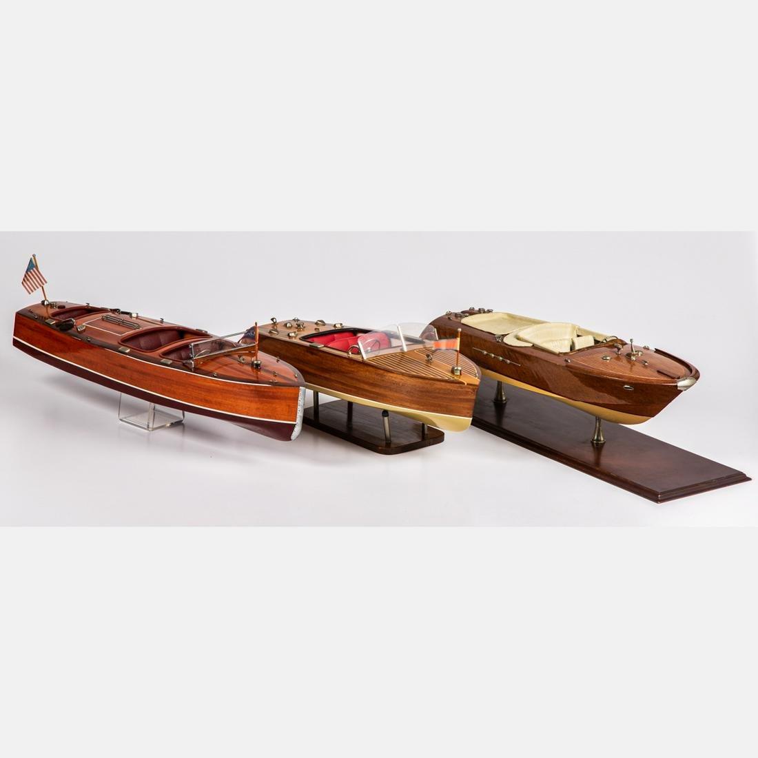 Three Vintage Wooden Speedboat Models