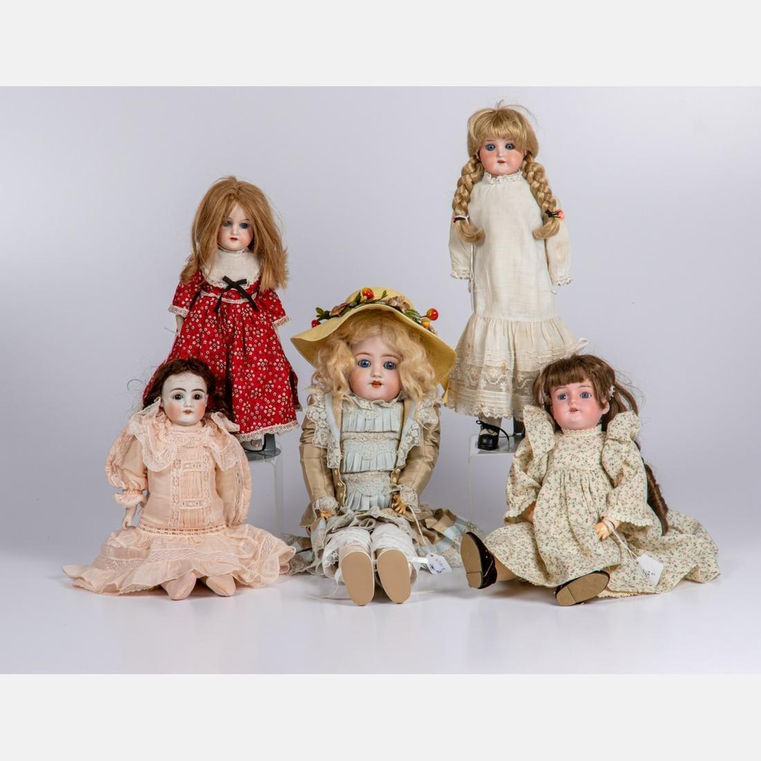Five Continental Antique Bisque Dolls