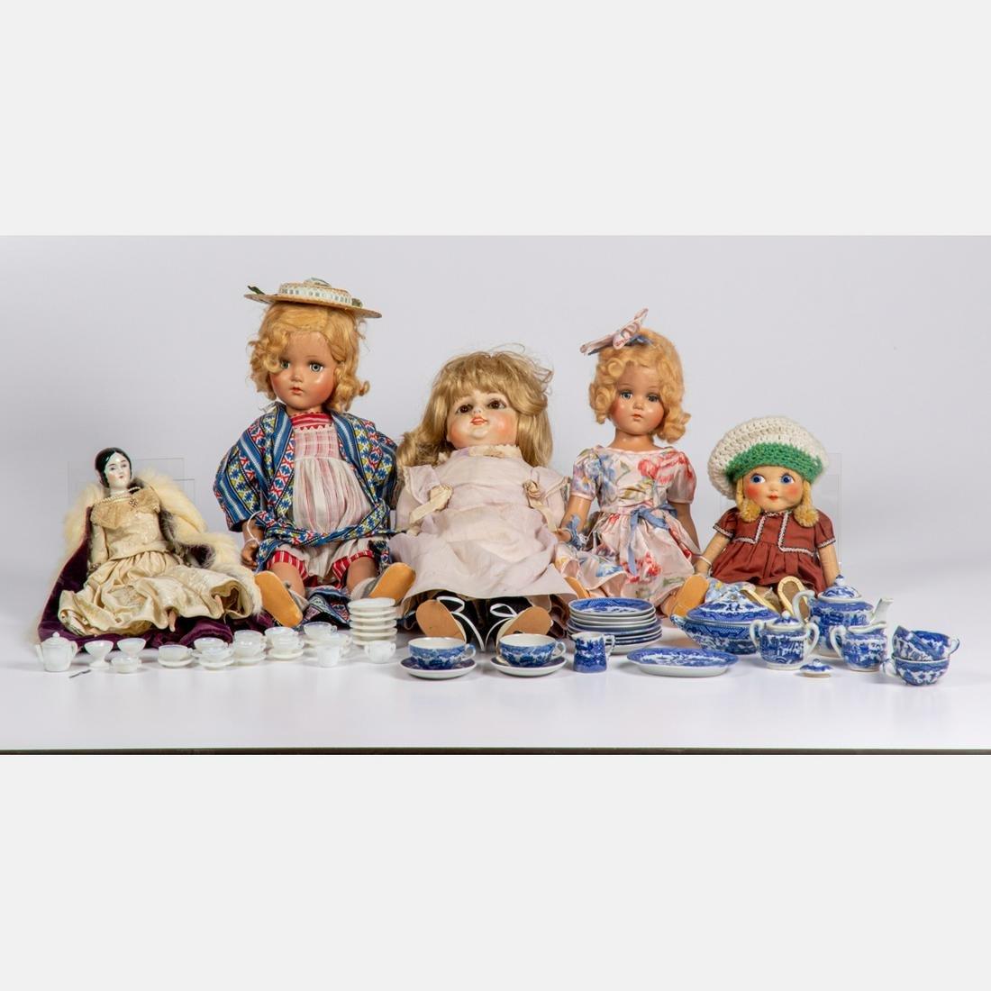 Five Continental Antique and Semi-Antique Dolls