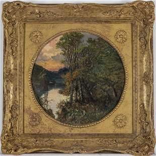 English School (19th Century) River Landscape, Oil on