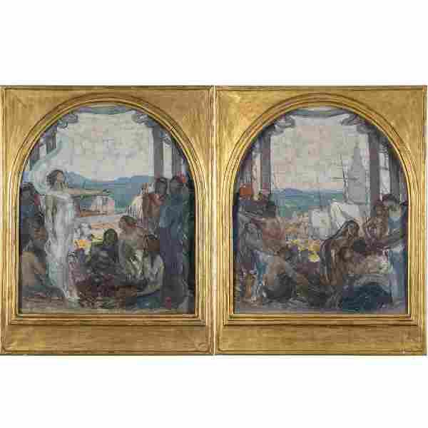Joseph Raphael (1869-1950) A Pair of Mural Decoration