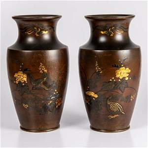A Pair of Japanese Mixed Metal Inlaid Bronze Vases,