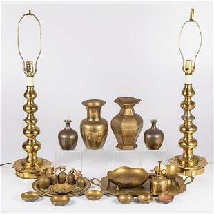 A Miscellaneous Collection of Brass Decorative Items