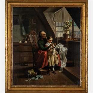 Munich School 19th Century Grandmother and Child