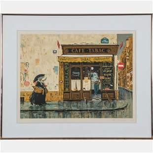 Artist Unknown 20th Century Caf Tabac Lithograph