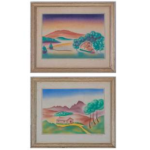 John Howald 20th Century Two Landscapes Ink on