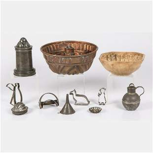 A Collection of Early Copper Ceramic Pewter and Tin
