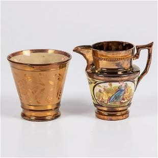 A Copper Lustreware Creamer and Cup 19th Century
