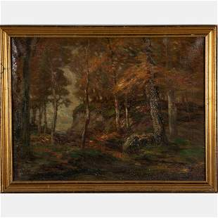 John Semon 18521917 Autumn Forest Scene Oil on