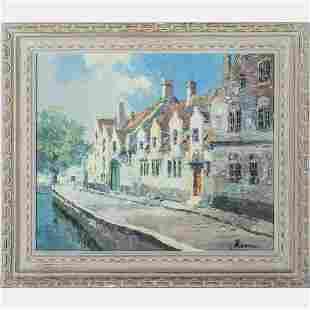 Bernard Laarhoven b 1912 City Scene Oil on canvas