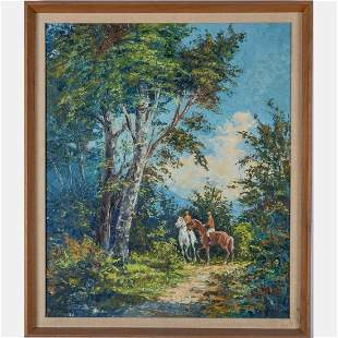 Adams Vienna 1912 Forest Scene with Riders Oil on