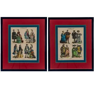 A Pair of Framed German Hand Colored Engravings 19th