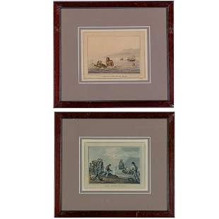 A Set of Two Hand Colored Lithographs of Turtle