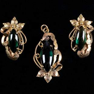 A 18kt Yellow Gold and Green Spinel Pendant and ClipOn