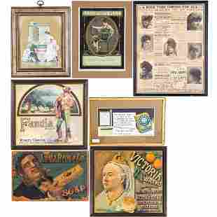 Antique Framed Lithograph Advertising Signs