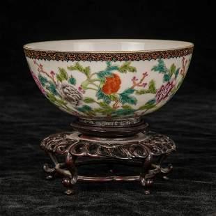 Chinese Famille Rose Eggshell Porcelain Bowl
