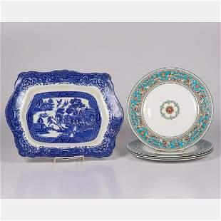 Four Wedgwood Bone China Florentine Dinner Plates
