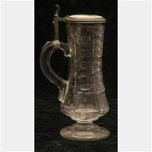 Continental Cut Glass, Pewter and Porcelain Tankard