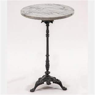 Marble Top Cast Iron Side Table