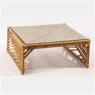 Vintage Rattan Glass Top Low Table