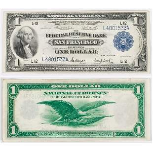 A 1914 One Dollar Large Size Federal Reserve Bank, San