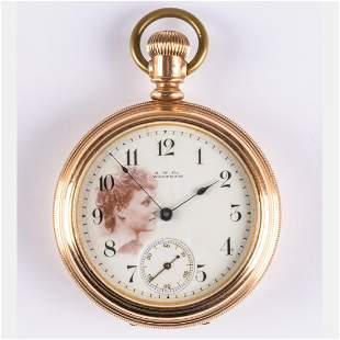 An A.W. Co. Waltham Yellow Gold Plated Open Face Pocket