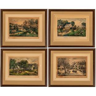 A Group of Four Hand Colored Lithographs from the