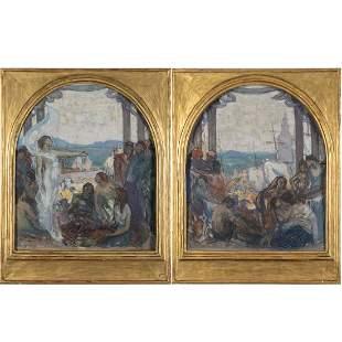 Joseph Raphael (American,1869-1950) A Pair of Mural