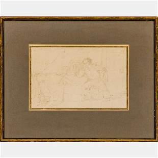 Henri Alfred Darjou (French, 1832-1874) Interior Scene