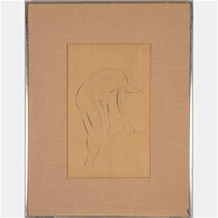 Eric Gill (British, 1882-1940) Standing Nude, Pencil on