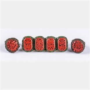 A Group of Chinese Carved Cinnabar Lacquered Jewelry,