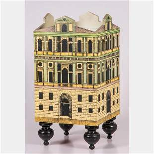 A Fornasetti Style House Form Table with Mirror Top,