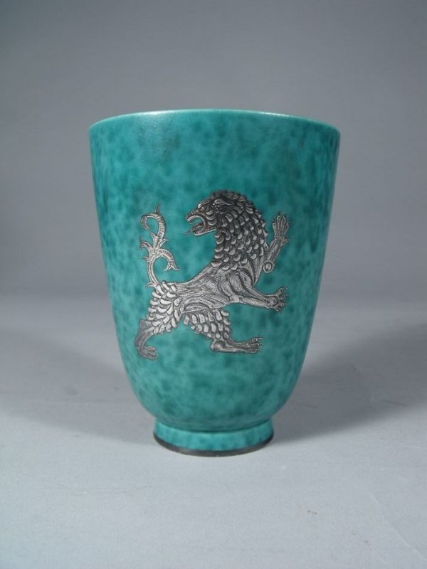 2: A Gustavsberg Argenta Pottery Vase with Silver Overl