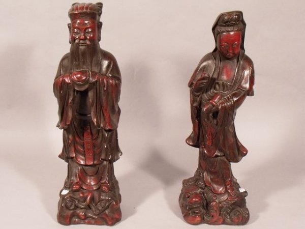 16: A Pair of Chinese Cast Plaster Figures.