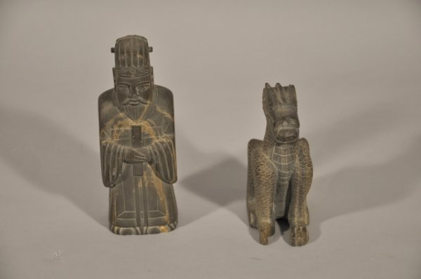 19: Two 19th Century Chinese Carved Soapstone Figures,