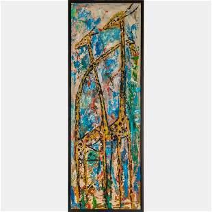 Godfrey A. Okiki (Nigerian, b. 1940) Giraffes, Oil on