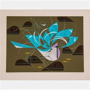 Charles Harper (American, 1922-2007) Blue Jay Bathing,