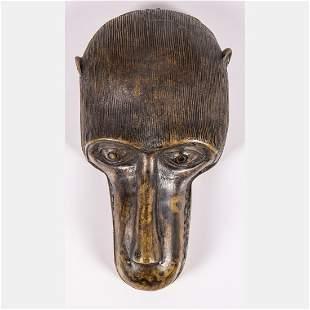 An African Benin Bronze Monkey Head Sculpture, Nigeria,