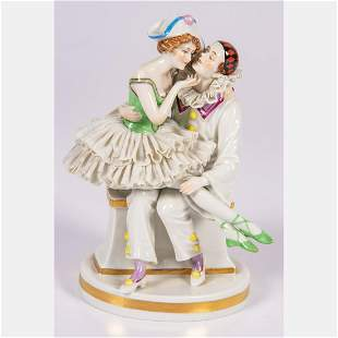 A Dresden Porcelain Figural Group, 20th Century.
