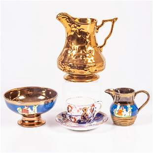 A Group of Five English Lustreware Pottery by Various