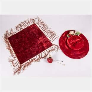 A Red Velvet Ladies Hat, 19th/20th Century,