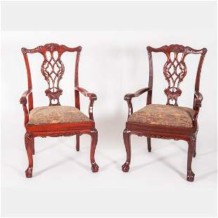 A Pair of Chippendale Style Mahogany Armchairs, 20th