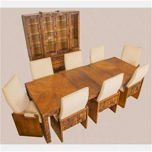A Paul Evans Style Brutalist Walnut Dining Suite and