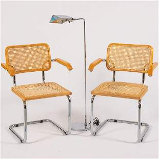 A Pair of Marcel Breuer Style Chrome and Caned Arm