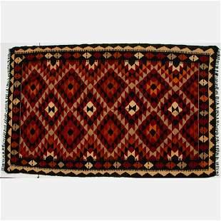 A Persian Kurdish Village Kilim Wool Rug, 20th Century.