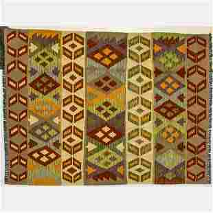 A Turkish Caucasian Kazak Kilim Wool Rug, 21st Century.