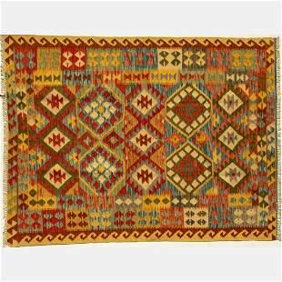 A Turkish Village Kilim Wool Rug, 21st Century.