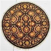A Round Indo Persian Tabriz Wool Rug, 21st Century.
